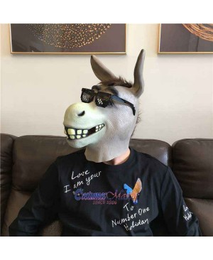 Latex Comical Cartoon Donkey Head Mask Full Head Animal Mask Cosplay Masquerade