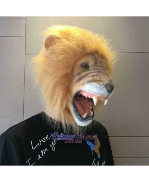 Latex Scary Lion Mask Full Head Animal Mask Cosplay Masquerade