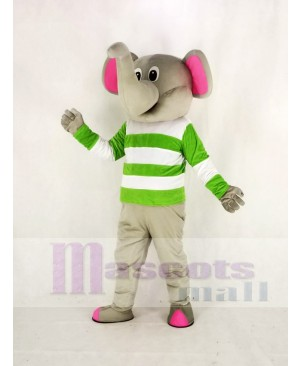 Gray Elephant with Green and White Cloth Mascot Costume Animal
