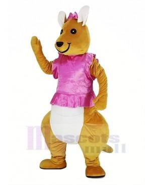 Pink Dress Kangaroo Mascot Costume Animal
