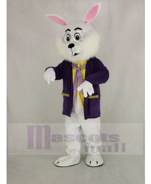 White Easter Bunny Rabbit in Purple Coat Mascot Costume