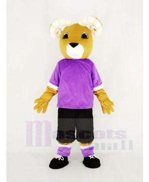 Brown Ram in Purple Mascot Costume Animal