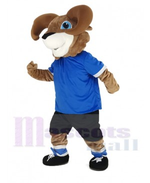 Brown Ram with Blue T-shirt Mascot Costume Animal