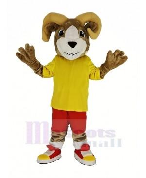 Sport Ram with Yellow T-shirt Mascot Costume
