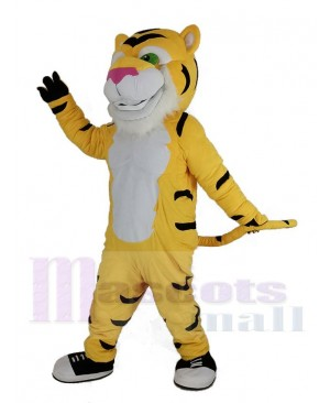 Yellow Power Tiger with Pink Nose Mascot Costume Animal