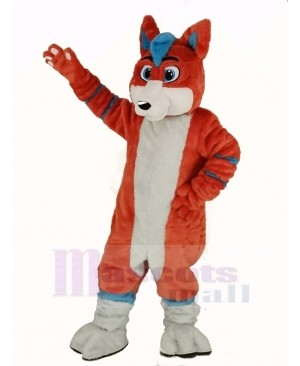 Orange and Blue Husky Dog Fursuit Mascot Costume