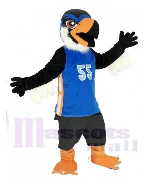 Black Eagle in Blue Jersey Mascot Costume