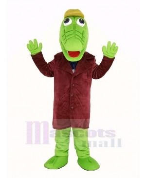 Green Crocodile with Hat Mascot Costume Animal