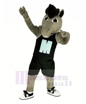 Grey Power Mustang Horse with Black Sportswear Mascot Costume