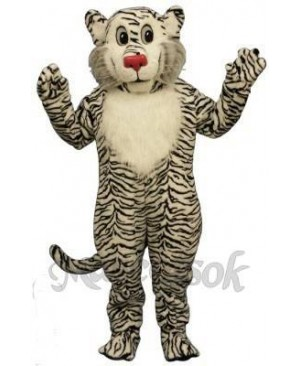 Cute Shy White Lion Mascot Costume