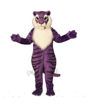 Cute Purple Tiger Mascot Costume