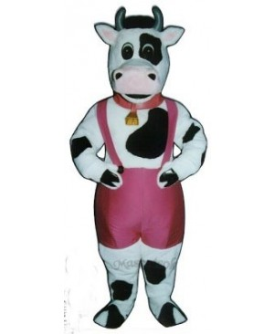 Cute Peter Porterhouse Cow with Paints, Bell & Collar Mascot Costume