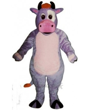 Cute Purple Cow Mascot Costume