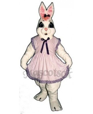 Cute Cindy Easter Bunny Rabbit with Apron Mascot Costume