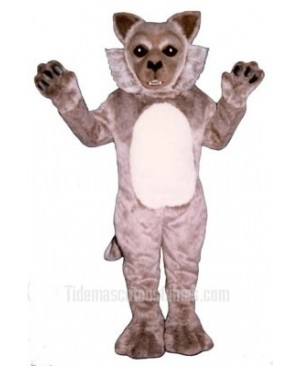 Cute Timber Wolf Mascot Costume
