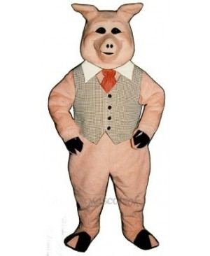 Cute Pierre Pig with Vest, Tie & Collar Mascot Costume