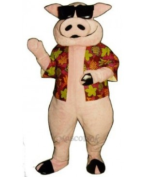 Pig Piglet Hog with Hawaiian shirt & Sunglasses Mascot Costume
