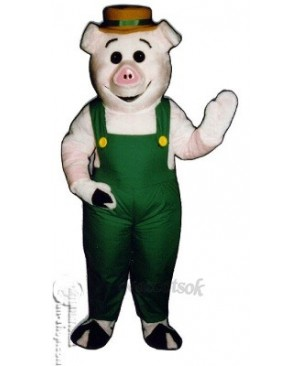 Farmer Piglet Pig Hog with Overalls & Hat Mascot Costume