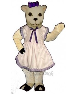 Lamb with Apron & Bow Mascot Costume