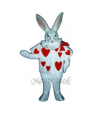 Cute White Rabbit with Jacket Mascot Costume