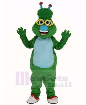 Green Alien Monster with Blue Nose Mascot Costume