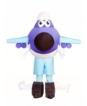 Purple and Blue Plane Mascot Costumes