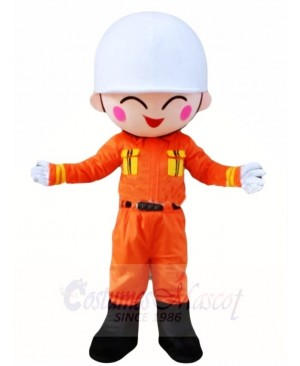Fireman Firefighter In Orange Suit Mascot Costumes People