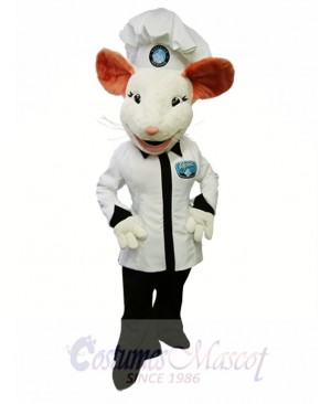 Alpina Mouse Mascot Costume White Mouse Cook Mascot Costume