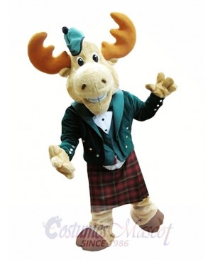 Bull Moose Mascot Costume Moose in Bellman Suit Mascot Costume