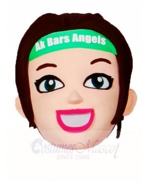 Brown Hair Cheerleader Girl HEAD ONLY Mascot Costumes People