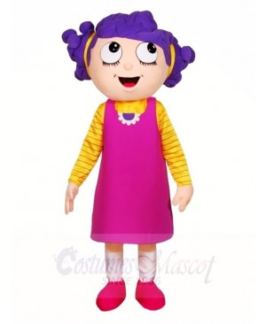 Purple Hair Girl Mascot Costumes People