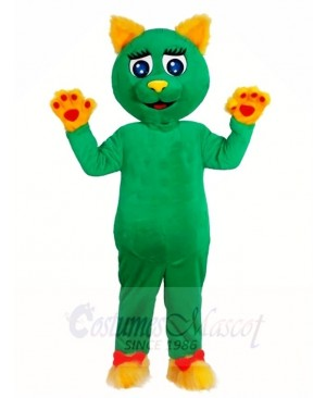 Green Cat with Yellow Ears and Paws Mascot Costumes Animal