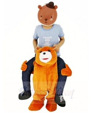 For Children/ Kids Ride on Brown Teddy Bear Carry Me Ride Mascot Costume Stuffed Stag