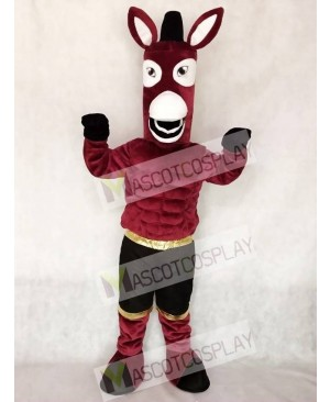 Maroon Jack Mule Mascot Character Costume Fancy Dress Outfit
