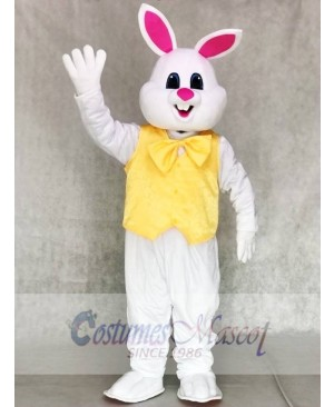 White Bunny Easter Rabbit with Yellow Bow and Vest Mascot Costumes Animal