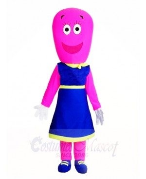 Pink Woman in Blue Dress Mascot Costumes People