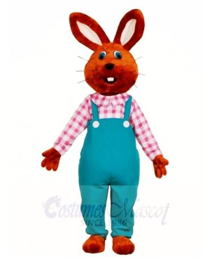 Chocolate Rabbit in Overalls Mascot Costumes Easter Bunny Animal