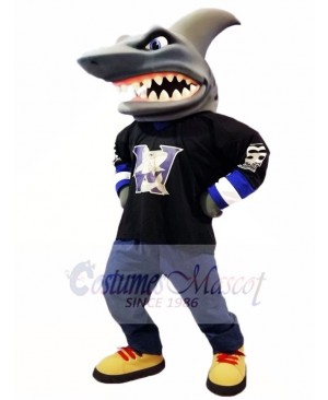 Black Shirt Shark Mascot Costume Ocean