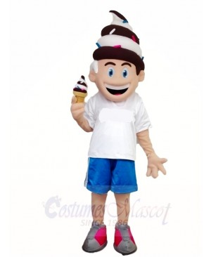 Chocalate and Vanilla Ice Cream Boy Mascot Costumes People