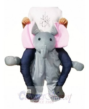 Piggyback Elephant Carry Me Ride Grey Elephant Mascot Costume