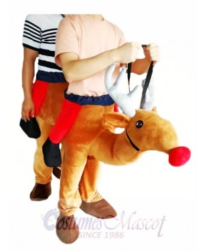 Piggyback Reindeer Carry Me Ride Red Nose Rudolph Mascot Costume