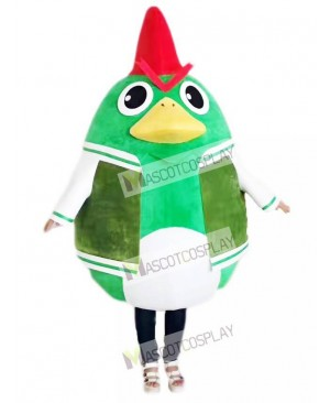 Rooster Cock Chicken in Green Suit Mascot Costume