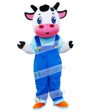 Cow in Blue Overalls Mascot Costume