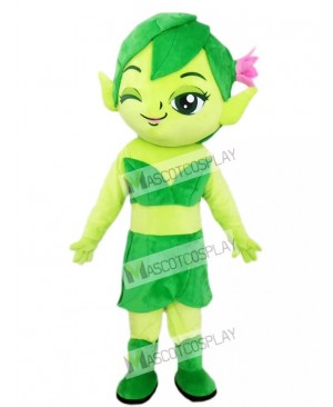 Green Female Elf Wizard with Flower Mascot Costume