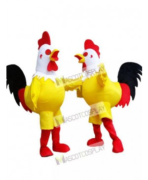 Yellow Cock Rooster with White Head Mascot Costume