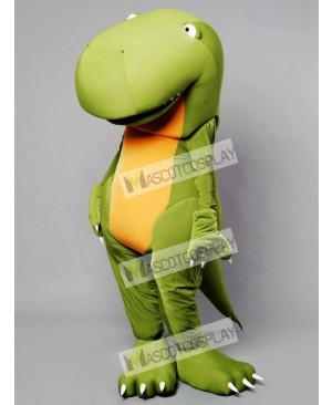 Big Head Green Dino Dinosaur Mascot Costume