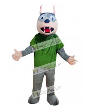 Gray Wolf in Green Shirt Mascot Costume