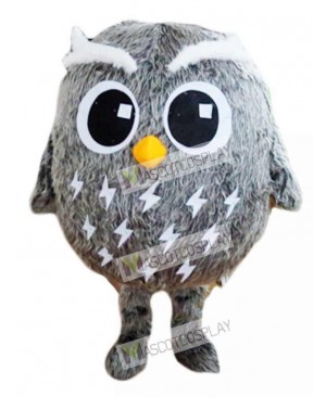 Adult Friendly Grey Owl Mascot Costume Bird