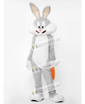 Gray Bunny With Carrot Mascot Costume