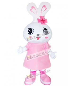 Big Head Pink Rabbit Eater Bunny Mascot Costume